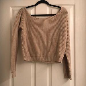 Boohoo off the shoulder beige sweater